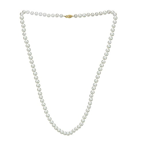 14k Yellow Gold 5.5-6mm White Freshwater Cultured AAA High Luster Pearl Strand, 30