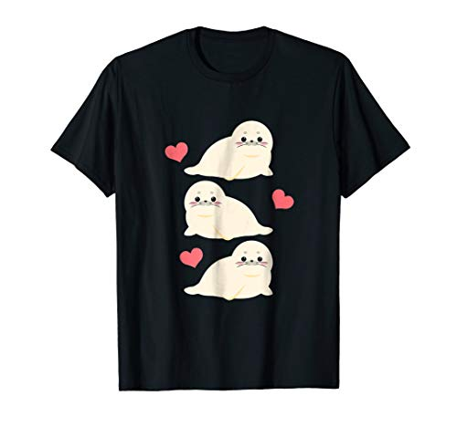 Sea Lions Make Me Happy T-Shirt Gift for Harp Seal Lover ()