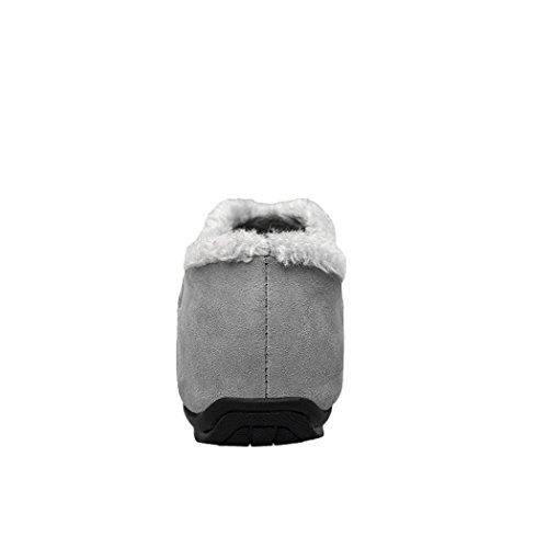 Sun Lorence Mens Casual Casual In Pelle Scamosciata Flessibile Caldo Caldo Foderato Slip-on Mocassini Scarpe Basse Grigie