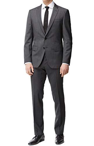Hugo Boss Men's 'Huge/Genius' Grey Slim Fit Virgin Wool Windowpane Suit, 38R