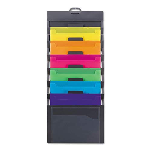 Smead Cascading Wall Organizer, 6 Pockets, Letter Size, Gray/Bright, Sold as 2 Pack (92060)