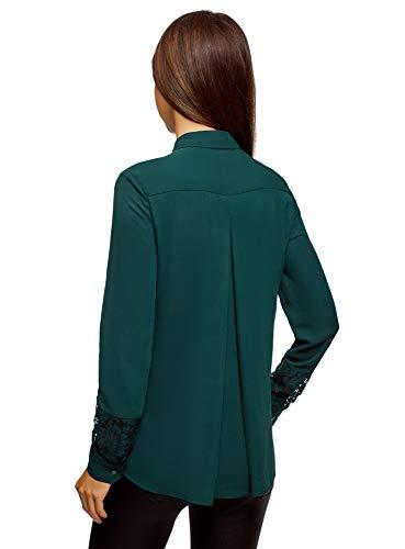 Maniche Verde 6e00n Oodji Inserti Con Donna Collection Camicetta Pizzo Dritta Di Sulle zqxzPAv