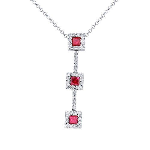 (14K White Gold Ruby & Round Diamond Slider with Chain)