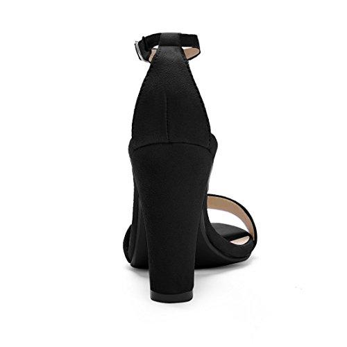 Sandalias De Vestir Allegra K Mujeres Block Heel T-strap Negras