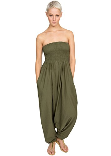 - Cotton Maxi Harem Pants Romper Jumpsuit Olive,Olive,One Size
