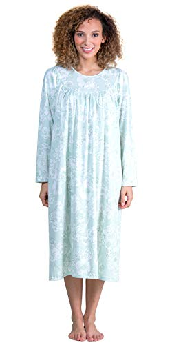Calida Long Sleeve Cotton Knit Nightgown in Green Lily (Mint White Floral 7e05e899a