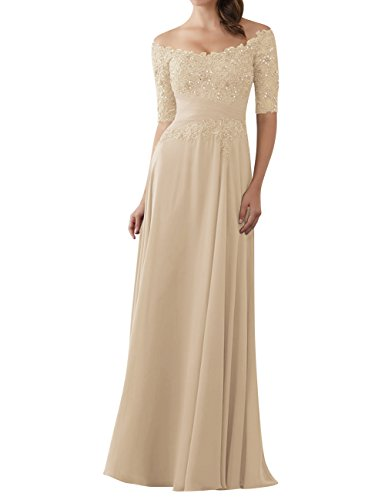 Evening Dresses Mother of The Bride Gowns with Sleeves Lace Long Chiffon Beaded Champagne US16W