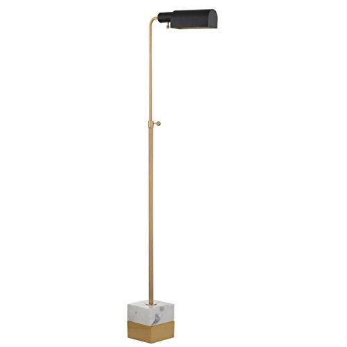 "Jonathan Y JYL3029A Floor Lamp, 6"" x 56.5"" x 17"", Brass Gold/Carrara Marble with Black Shade"