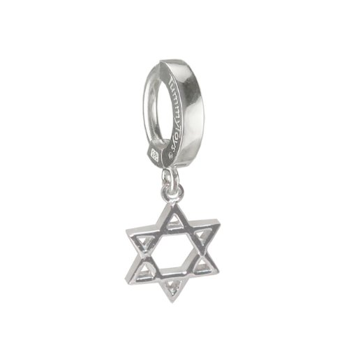 (TUMMYTOYS NAVEL BELLY RING SILVER STAR OF DAVID CHARM. Easy snap-in TummyToys Belly Button Rings The Belly Rings That Will Change Your Life, 100% guarantee.)