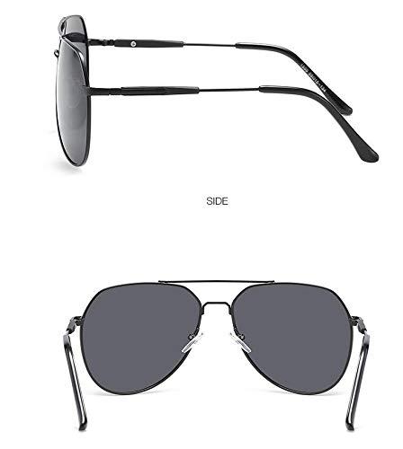 de piece de Burenqiq Pieza Sol Marco Marco polarizadas de Gafas gray Espejos Hombres Black Gris Redondo metálicos clásicos de polarizados conducción para Sol Gafas Espejos Plateado frame Fa6xFqB