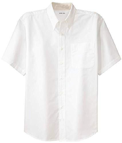 Joe's USA - Men's Short Sleeve Wrinkle Resistant Easy Care Shirts-XS White/Light Stone -