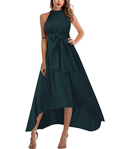 Asymmetrical Gown - SOLERSUN Women's Elegant Jacket+Belt+Dress Formal Asymmetrical Long Dresses Cyan XXL