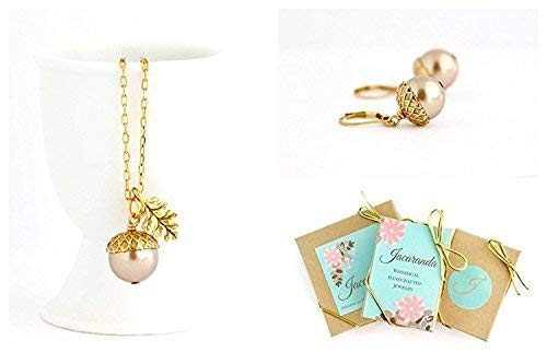 Pale Bronze Acorn Necklace and Earrings Gift Set