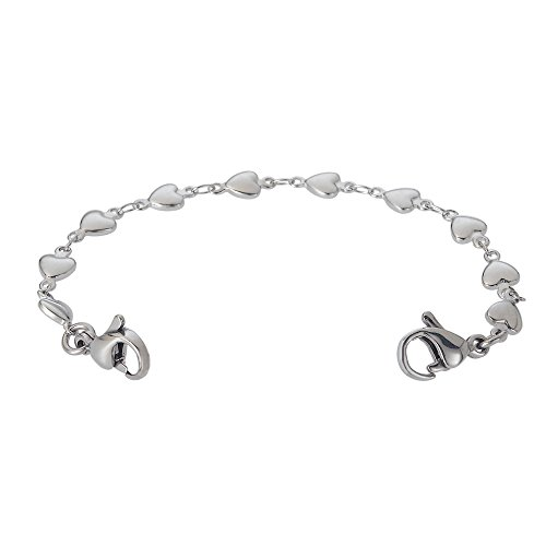 Divoti Heart Link Stainless Steel Interchangeable Medical Alert Replacement Bracelet for Women ()