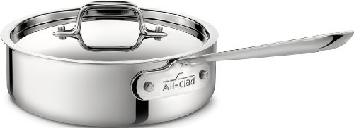 All-Clad 4402 Stainless Steel Tri-Ply Bonded Dishwasher Safe Saute Pan with Lid / Cookware, 2-Quart, Silver by All-Clad by All-Clad
