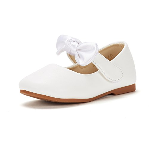 Children's Occasion Shoes (DREAM PAIRS Toddler Belle_02 White Pu Girl's Mary Jane Ballerina Flat Shoes Size 8 M US)
