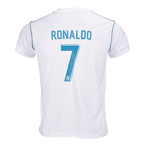 #7 Ronaldo Real Madrid Home Kid Soccer Jersey & Matching Shorts Set 2016-17,White,Youth S (6 to 8 Years (Old Soccer Shirts)