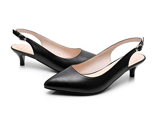 - VELUCCHI Women's Shoes Leather Slingback Black Sandals Kitten Heels Dress Pump Party Shoes