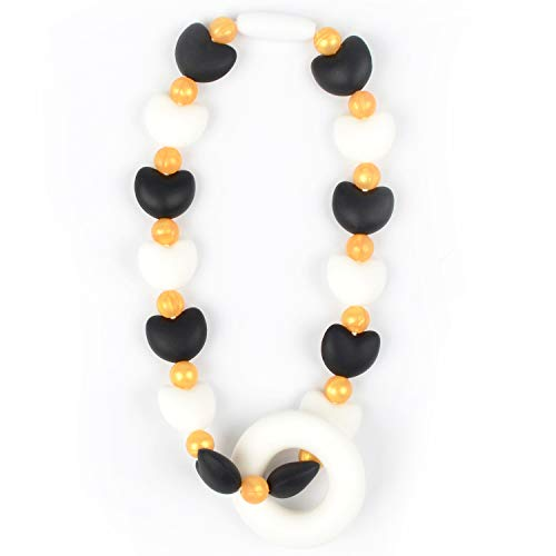 Nummy Beads Black Hearts Teether Toy Attaches to Baby Carrier, Car Seat, High Chair, Stroller or Diaper Bag (Best Ssc Baby Carrier)