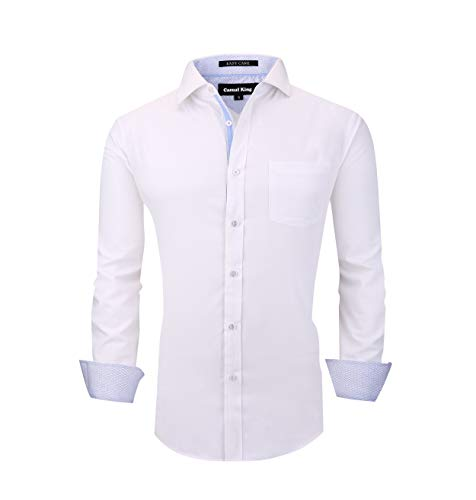 (Casual King Mens Dress Shirts Wrinkle-Free Long Sleeve Button Down Formal Shirt (White, RMedium))
