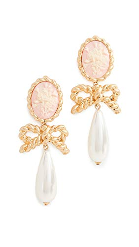 Cameo Earrings Gold - For Love & Lemons Women's Cameo Imitation Pearl Drop Earrings, Vintage Gold, One Size