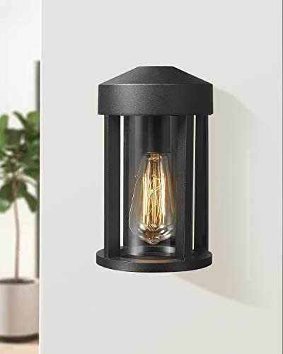 Zeyu 1-Light Outdoor Wall Lantern Light, Exterior Wall Mount Light in Black Finish with Clear Glass, 0372-WD BK