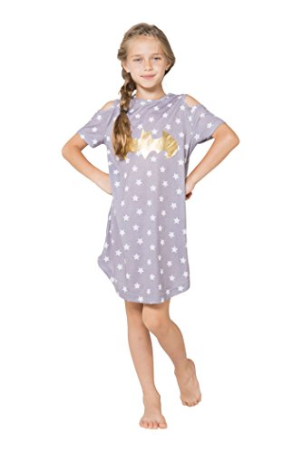 DC Comics Girls' Big Batgirl Cold Shoulder Star Nightgown, Gray, 7/8