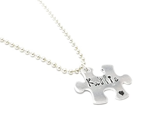 (Puzzle Piece Necklace Heart Silver Charm Necklace, Expandable Stainless Steel Jewelry, Personalized Bracelet Customized Bracelet, Personalized Gift, Your Own Saying, Gold Silver Autism Awareness)