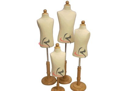 - (JF-C06M-12T Group) Roxy Display 4 Models Children/Child / Kids Dress Form Mannequin Body Form with Base. Jersey Covered. Model: JF-C06M, JF-C3/4T, JF-C6/8T, JF-C12T