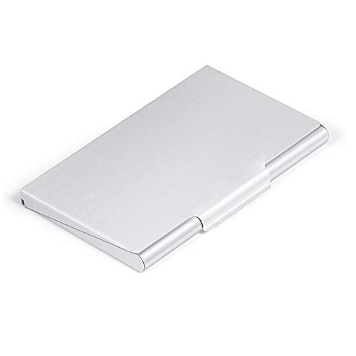 MaxGear Professional Business Card Holder Slim Business Card Case Aluminum Business Name Card Holder Case Metal Card Holder for Men and Women Silver