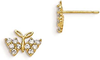 14K Yellow Gold Madi K Childrens 10 MM CZ Butterfly Post Stud Earrings