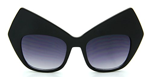 Oversized Cat Eye Sunglasses Square Gradient Lens Huge Black Plastic - Huge Sunglasses
