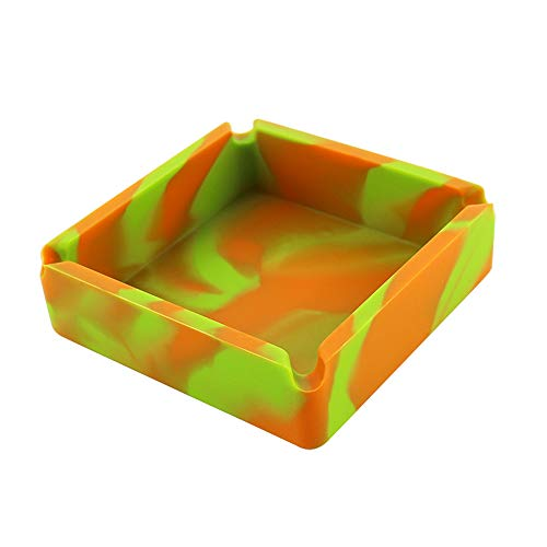HongShan Silicone Cigar Ashtray Shatter-Resistant Camouflage Soot Unbreakable High Temperature for Home Office, Square