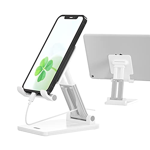 Phone Stand for Desk, Cell Phone Dock: Cradle, Holder for Office Desk, Angle and Height Adjustable, Compatible with Switch, Tablet, iPhone, ipad, All Smart Phone - White
