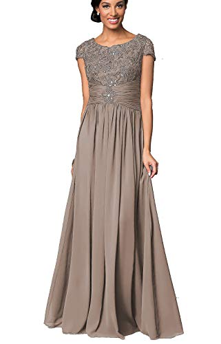 Long Floral Lace Chiffon Mother of Bride Dresses with Short Sleeves Formal Evening Gowns for Women Taupe