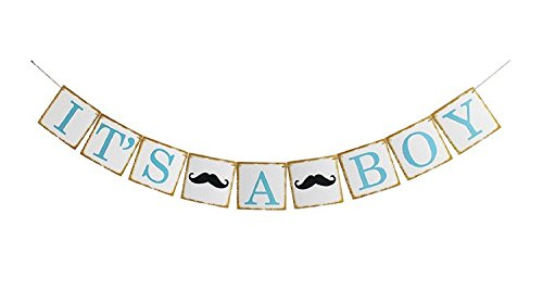 Firefairy It's A Boy with Mustache Sign Garland Bunting Banner,Boy Baby Shower,Birthday Party Decoration. -