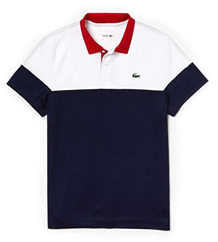 Lacoste Men's Sport Short Sleeve Color Blocked Polo, White/Navy Blue/red, Medium