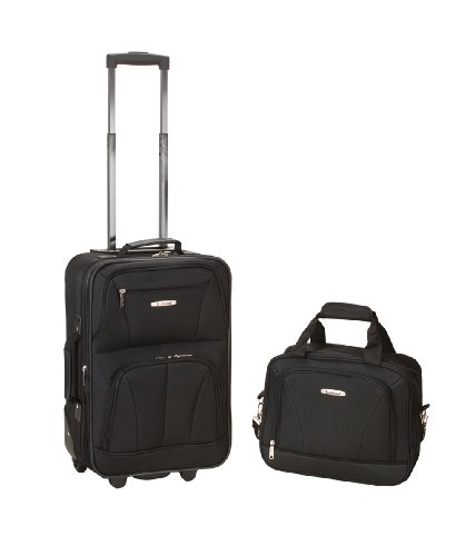 Rockland Luggage 2 Piece Printed Luggage Set, Black, Medium