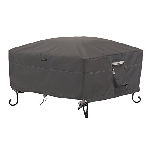 Classic Accessories Ravenna Full Coverage Square Fire Pit Cover - Premium Outdoor Cover with Durable and Water Resistant Fabric, Small (55-486-015101-EC) (Outdoor Fire Pit Tables With Chairs)