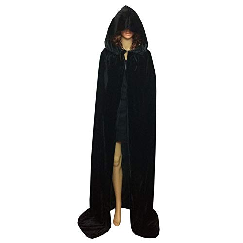 Pusheng Unisex Hooded Panne Velvet Cloak COS Costume Halloween Party Cape Black Asia L - Panne Velvet Cape