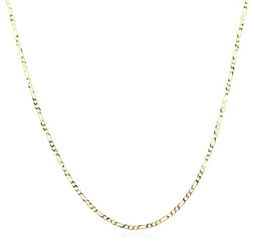 (14K Gold 2.0mm Figaro/3+1 Link Chain Necklace- Made in Italy - Multiple Colors and Sizes Available (Yellow, 16))