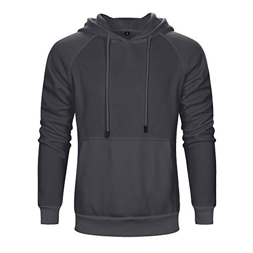 TOLOER Men's Hoodies Pullover Casual Solid Color Sports Outwear Sweatshirts Dark Grey X-Large
