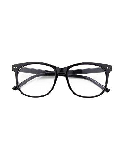 CGID CN81 Damen Herren Styler klassische Nerdbrille Streberbrille Pantobrille 80er Jahre Klarglas Fashion Oversized Nerd Geek Style,Glossy Schwarz