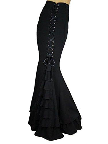 Women's Pure Black Gothic Lolita Band Waist Skirt Mermaid (Mermaid Skirt Pattern)