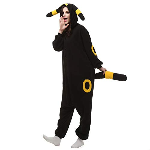 ElfZ Umbreon Onesie Adult Animal Pajamas Cosplay Costume for Women Plus Size -