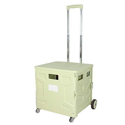 WPCBAA Four-Wheel Folding Shopping cart Trolley 3 Section Adjustment Trolley 65L Large Capacity Bearing Heavy Luggage cart (Color : Cyan, Size : M)