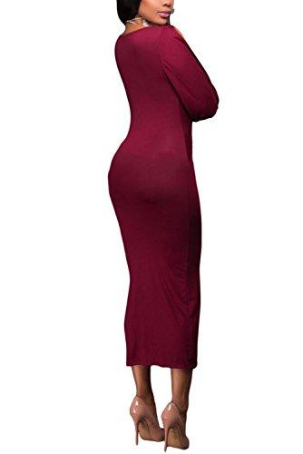 Cutepaw Sexy Des Femmes De Corsage Ruché Profond Col V Fente Manches Longues Robe De Soirée Club Midi Wrap Rouge Moulante