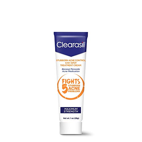 Clearasil Stubborn Acne Control 5 in 1 Spot Treatment Cream, Maximum Strength, Benzoyl Peroxide Acne Medication, Fights Blocked Pores, Pimple Size, Excess Oil, Acne Marks & Blackheads, 1 oz.