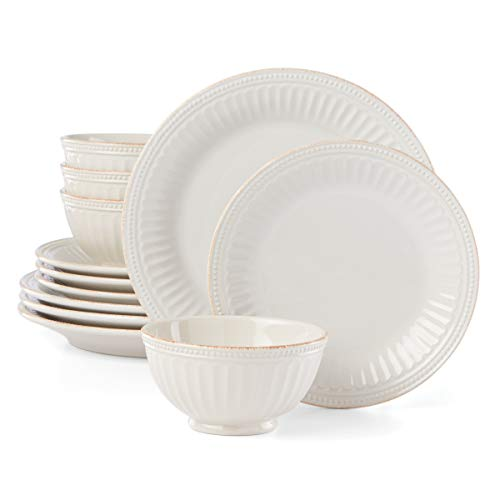 Lenox French Perle Groove 12-Piece Plate & Bowl Set, 23.05 LB, White