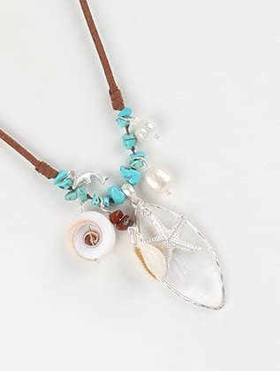 FB Jewels Solid Sealife Charm Necklace And Earring Set Faux Suede Adjustable With Seashell